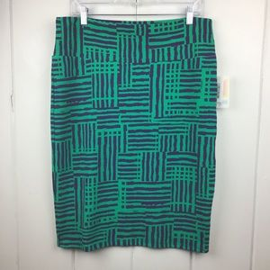 NWT LulaRoe Cassie Green & Purple Pencil Skirt XL